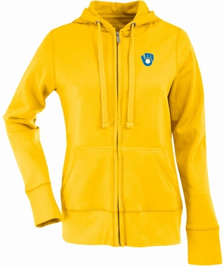 Milwaukee Brewers Womens Zip Front Hoody Sweatshirt (Cooperstown) (Color: Gold)