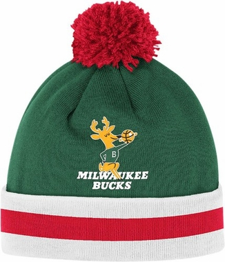 Milwaukee Bucks Vintage Jersey Stripe Cuffed Knit Hat w/ Pom