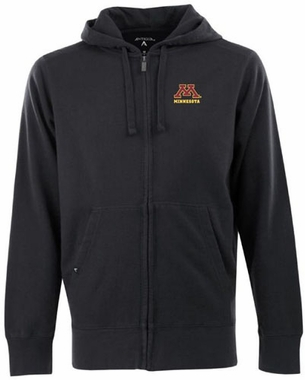 Minnesota Mens Signature Full Zip Hooded Sweatshirt (Color: Black)