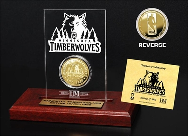 Minnesota Timberwolves Gold Coin Etched Acrylic