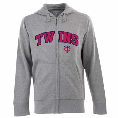 Minnesota Twins Mens Applique Full Zip Hooded Sweatshirt (Color: Gray)