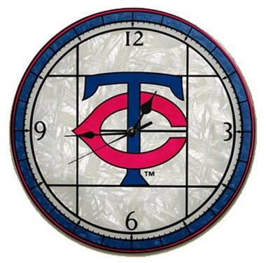 Minnesota Twins Art Glass Clock