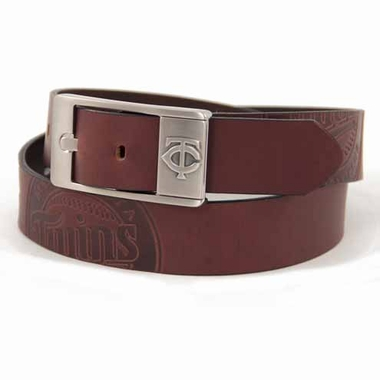Minnesota Twins Brown Leather Brandished Belt