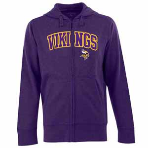 Minnesota Vikings Mens Applique Full Zip Hooded Sweatshirt (Color: Purple) - X-Large