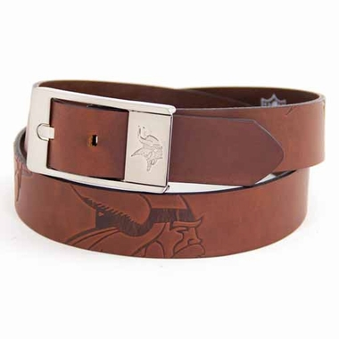 Minnesota Vikings Brown Leather Brandished Belt