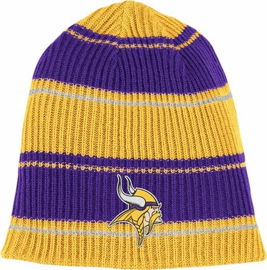 Minnesota Vikings Cuffless Reversible Team Name and Logo Knit Hat