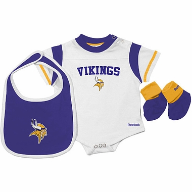 Minnesota Vikings Infant 3 Piece Creeper Bib Bootie Set