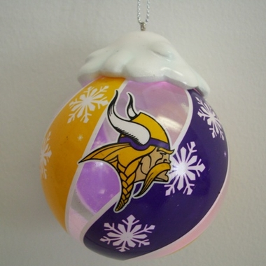 Minnesota Vikings Light Up Glass Ball Ornament
