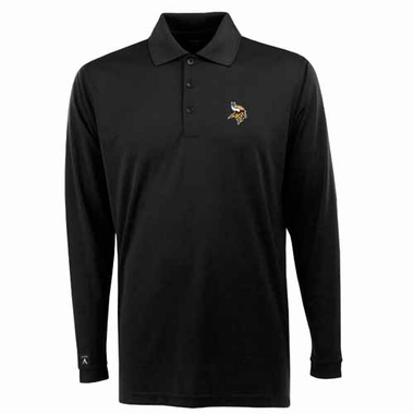 Minnesota Vikings Mens Long Sleeve Polo Shirt (Color: Black) - Medium