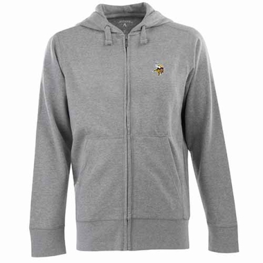 Minnesota Vikings Mens Signature Full Zip Hooded Sweatshirt (Color: Gray)