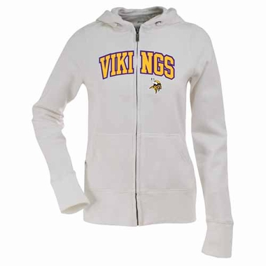Minnesota Vikings Womens Applique Zip Front Hoody Sweatshirt (Color: White)