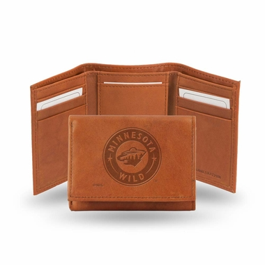 Minnesota Wild Embossed Leather Trifold Wallet