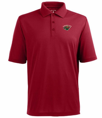 Minnesota Wild Mens Pique Xtra Lite Polo Shirt (Color: Red)