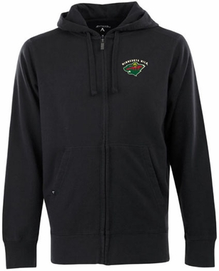 Minnesota Wild Mens Signature Full Zip Hooded Sweatshirt (Color: Black)