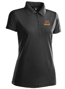 Minnesota Womens Pique Xtra Lite Polo Shirt (Color: Black) - Large