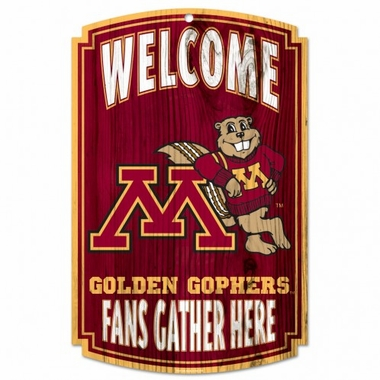 Minnesota Golden Gophers Wood Sign