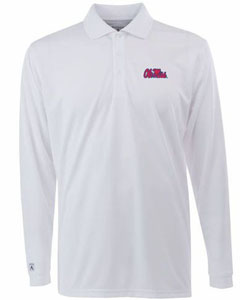 Mississippi Mens Long Sleeve Polo Shirt (Color: White) - Medium