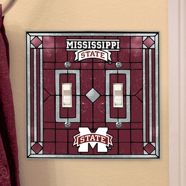 Mississippi State Art Glass Lightswitch Cover (Double)