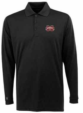 Mississippi State Mens Long Sleeve Polo Shirt (Color: Black)