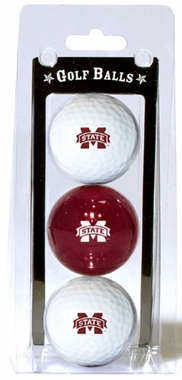 Mississippi State Set of 3 Multicolor Golf Balls