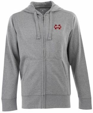 Mississippi State Mens Signature Full Zip Hooded Sweatshirt (Color: Silver)