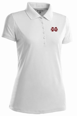 Mississippi State Womens Pique Xtra Lite Polo Shirt (Color: White)