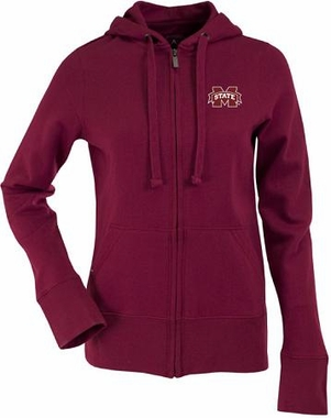 Mississippi State Womens Zip Front Hoody Sweatshirt (Color: Maroon)