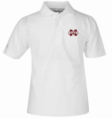 Mississippi State YOUTH Unisex Pique Polo Shirt (Color: White)
