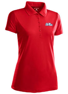 Mississippi Womens Pique Xtra Lite Polo Shirt (Color: Red) - Small