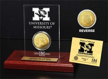 Missouri Tigers University of Missouri 24KT Gold Coin Etched Acrylic