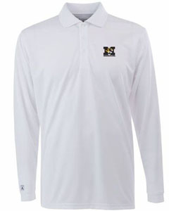 Missouri Mens Long Sleeve Polo Shirt (Color: White) - Small