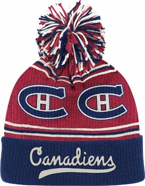 Montreal Canadiens CCM Repeating Logo Cuffed Pom Knit Hat