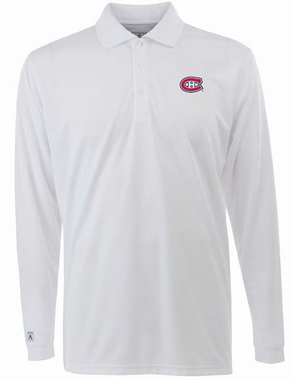 Montreal Canadiens Mens Long Sleeve Polo Shirt (Color: White)