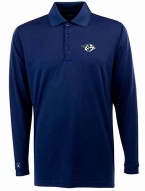 Nashville Predators Mens Long Sleeve Polo Shirt (Color: Navy)