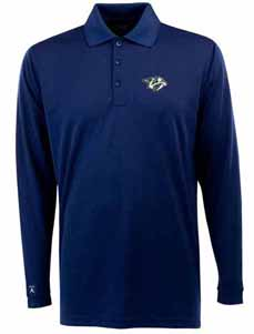 Nashville Predators Mens Long Sleeve Polo Shirt (Color: Navy) - X-Large
