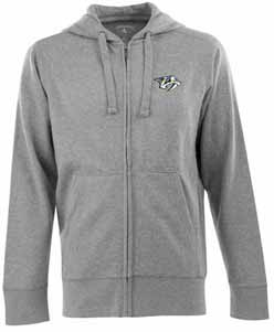 Nashville Predators Mens Signature Full Zip Hooded Sweatshirt (Color: Gray) - Medium