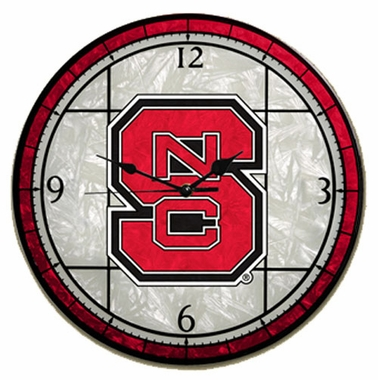 NC State Art Glass Clock