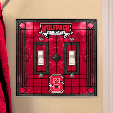 NC State Art Glass Lightswitch Cover (Double)