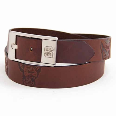 NC State Brown Leather Brandished Belt