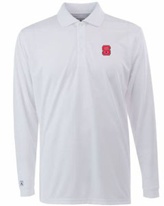 NC State Mens Long Sleeve Polo Shirt (Color: White) - Small