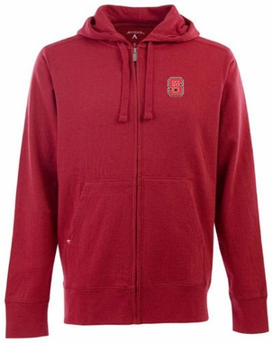 NC State Mens Signature Full Zip Hooded Sweatshirt (Color: Red)