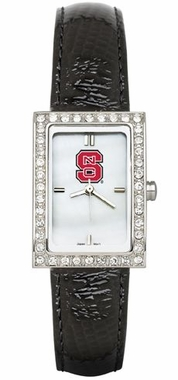 NC State Women's Black Leather Strap Allure Watch