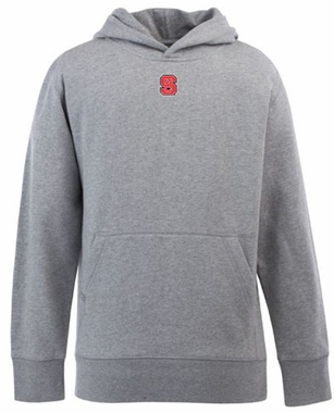 NC State YOUTH Boys Signature Hooded Sweatshirt (Color: Silver)