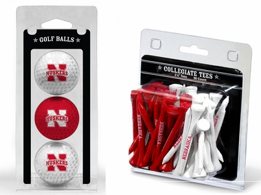 Nebraska 3 Golf Balls And 50 Golf Tees