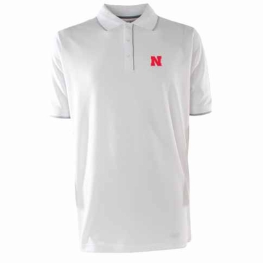 Nebraska Mens Elite Polo Shirt (Color: White)