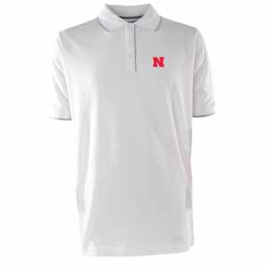 Nebraska Mens Elite Polo Shirt (Color: White) - Medium