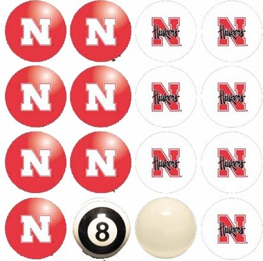 Nebraska Home and Away Complete Billiard Ball Set