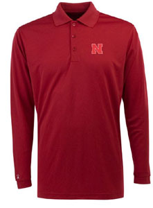 Nebraska Mens Long Sleeve Polo Shirt (Color: Red) - X-Large
