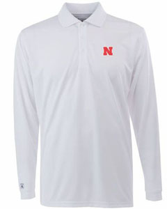 Nebraska Mens Long Sleeve Polo Shirt (Color: White) - XXX-Large