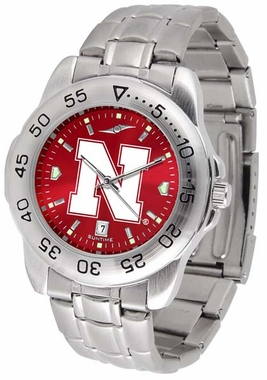 Nebraska Sport Anonized Men's Steel Band Watch